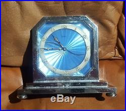 Art Deco 8 day Swiss Blue Guilloche Enamel Clock 1920 Very Rare