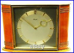 Art Deco Bauhaus Wood- Brass Desk Clock Heinrich Moeller Kienzle Germany