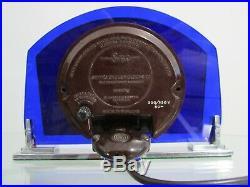 Art Deco Blue Acrylic & Chrome Smiths Electric Mantel Clock 1930s Working