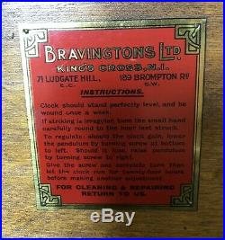 Art Deco Bravingtons Walnut Westminister Chime Mantel Clock