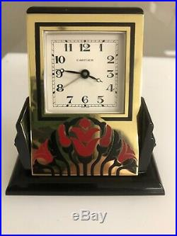 Art Deco Cartier Pendulette Roman Numeral Alarm Clock 890700461 Vintage Swivel