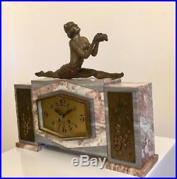 Art Deco Clock Dancer Sculpture By Balleste