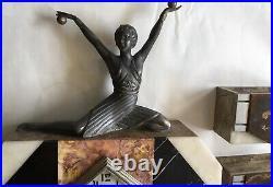 Art Deco Clock With Female Form And Garniture Art Eco Figurine