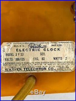 Art Deco Daphine Telechron Catalin Clock 1930's Butterscotch Color 6-Sided