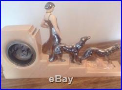 Art Deco French Ceramic Clock ODYV, Lady With Greyhounds C1930