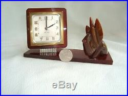 Art Deco French Scottie Dog Amber Color Bakelite Bayard Alarm Clock