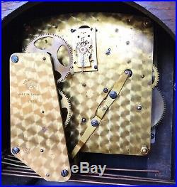 Art Deco Garrard Oak & Zebrano Wood Westminster Chiming Clock