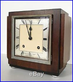 Art Deco Garrard Walnut Striking Mantle Clock Retail By John Smith Derby