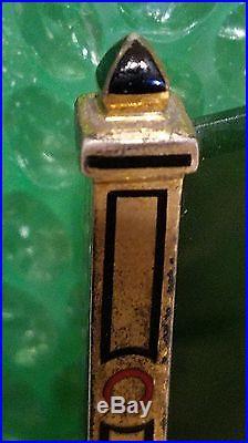 Art Deco Gilt Silver and Enamel Jadeite (jade) Clock