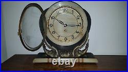 Art Deco Kaminuhr Tischuhr Frankreich Ucra Marble Mantle Clock Art Deco