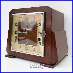 Art Deco Mahogany German Quarter Chiming Mantle Clock
