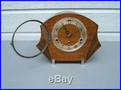 Art-Deco Mantel clock Oak Westminster chime can be turned off working M2