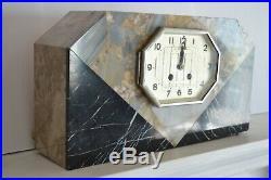 Art Deco Marble Clock Circa 1930 Shelf Mantel Collectable Clocks