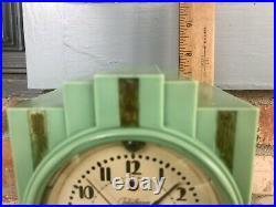 Art Deco Rare Green Bakelite Skyscraper Telechron Electrolarm 700 Clock