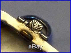 Art Deco Silver Blue Enamel Folding Pocket Watch Travel Clock Working Order