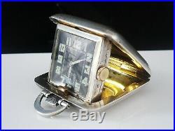 Art Deco Silver Folding Clock Watch, Birmingham 1934, SAPHO 15 Jewel