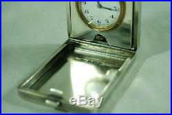 Art Deco Silver Travelling Clock A Nicholls Birmingham 1928 A701017