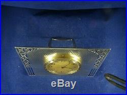Art Deco Solid Silver Swiss Movement 8 Day Desk Clock by Levi & Salaman, Bir 1928