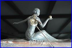 Art Deco Statue Bronze Marble Clock With Key Circa 1930 Shelf Mantel Collector