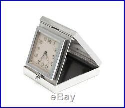 Art Deco Sterling Silver & Guilloche Enamel Travelling Clock by Rotherham & Sons