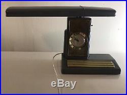 Art Deco Telechron Desk Lamp and Clock Vintage