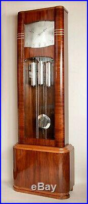 Art Deco Very Stylish Design Rosewood and Maple Wood Longcase Clock