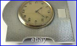 Art Deco hallmarked Sterling Silver Fronted Clock (10.5 x 9.5cm) 1924 (Working)