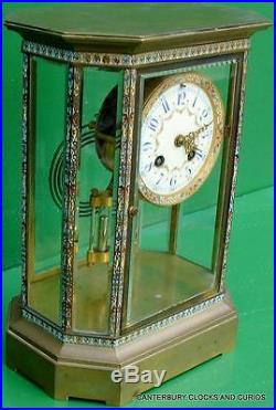 Art-deco French Japy Freres Cloisonne Eight Glass Crystal Regulator Mantle Clock