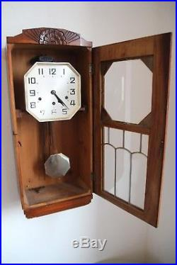 Art deco Wanduhr Gustav Becker Regulator antik odo Westminster clock
