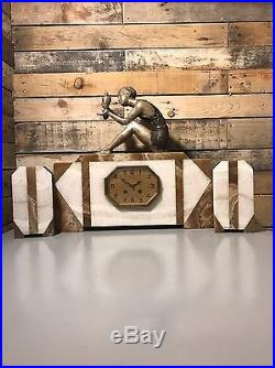 BANK HOLSALE -20% Off £515. Beautiful Art Deco Marble Clock And Garnitures
