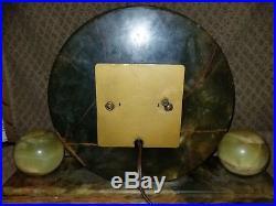 BIG Whitehall Hammond Synchronous art deco green onyx clock & Lamps (marble)