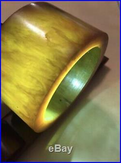 Bakelite Catalin cherry Amber Art deco vintage Multicolor table clock 620gr
