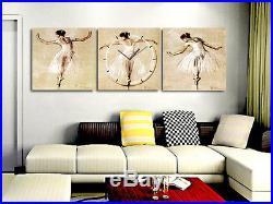 Ballet Ballerina Art Deco Canvas Print Set High quality with Clock Framed