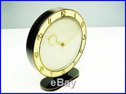 Beautiful Art Deco Bauhaus Black Desk Clock Kienzle Heinrich Moeller Germany