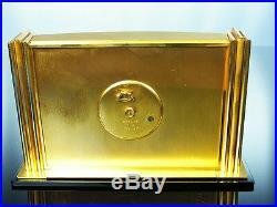 Beautiful Art Deco Bauhaus Golden Brass Desk Clock Imhof Swizerland