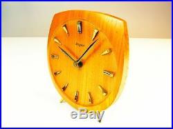 Beautiful Later Art Deco Bauhaus Modernism Wood Desk Clock Dugena Kienzle