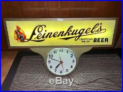 Beautiful Leinenkugels Beer Reverse on Glass Clock Lighted Sign Motion Art Deco