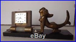 Beautiful UTI SWIZA Desk Alarm Clock Calendar Lampe Mermaid Art Deco mid century
