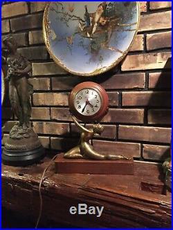 Beautiful Vintage Art Deco SESSIONS Nude Lady Mantle Shelf Clock Works