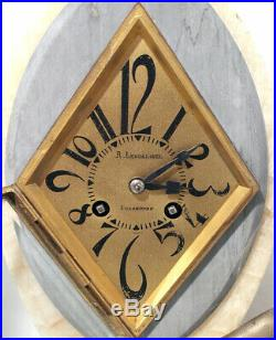 C1920 FRENCH ART DECO MARBLE MANTLE CLOCK SET SPELTER FIGURINES WithURNS