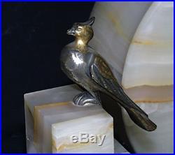 C1925 Art Deco French Clock Bronze Marble Alabaster Onyx Garniture Mantel Suite