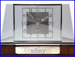 C1939, OUTSTANDING JAEGER LeCOULTRE ART DECO CHROME AND GLASS DESK MANTLE CLOCK