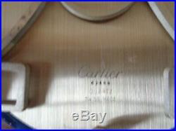 Cartier Art Deco Clock Blue Lapis Gold Desk Mantle Kickstand Serial Number 62448