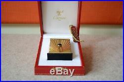 Cartier Paris Art Deco Wecker Reisewecker vergoldet Alarm Clock in Box