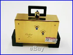 Cartier Paris Tisch-uhr Reisewecker Art Deco Design Messing Vergoldet Und Lack