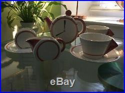 Clarice Cliff Bizzare Bonjour Tea for Two 8 o'clock Burnt Orange extrem Rare