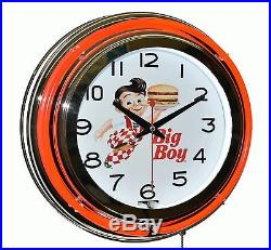 Classic Bob's Big Boy Diner 15 Red Double Neon Advertising Wall Clock Decor