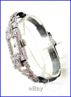 Damenuhr Platin watch Diamanten diamond Uhr Titanic art deco jugendstil clock