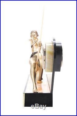 Diana the Huntress Original 1930s Bronze Figural Art Deco Clock