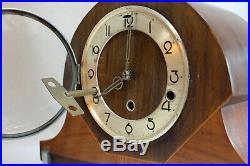 ENGLISH WESTMINSTER TABLE MANTLE CLOCK 1920 Art Deco two color wood